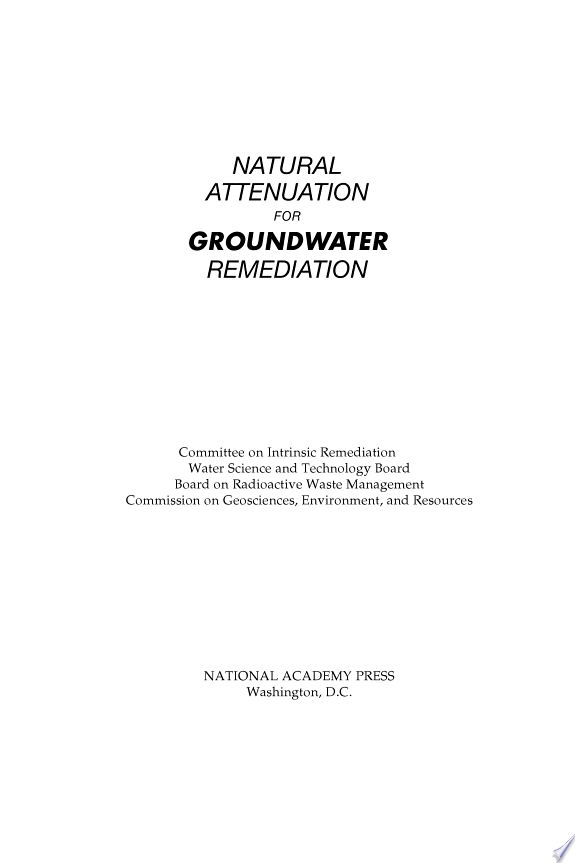Natural Attenuation for Groundwater