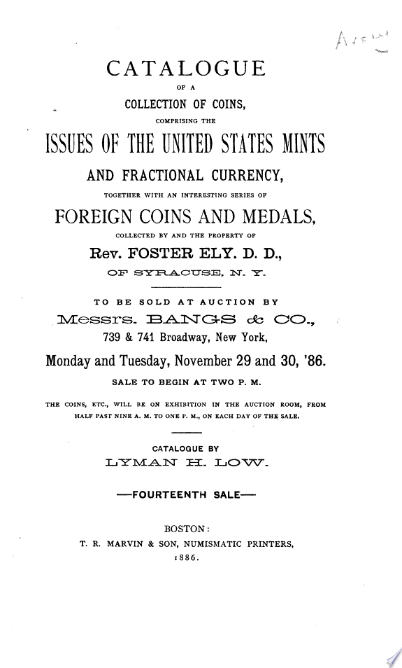 Catalogue of a Collection of Coins