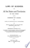 Laws of Business for All the States and Territories of the Union and the Dominion of Canada Book PDF