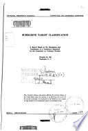 Report of a Conference on Submarine Target Classification Book
