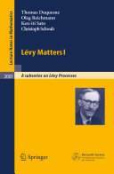 Lévy Matters I: Recent Progress in Theory and Applications: ...