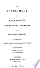 The Abridgment Of The History Of The Reformation Of The Church Of England An Abridgment Of The Third Volume By G Burnet The Younger