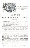Luzac's Oriental List and Book Review