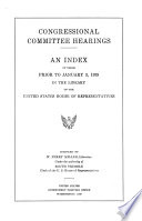 Index of Congressional Committee Hearings ...