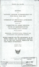 Hearing on National Defense Authorization Act for Fiscal Year 2009 and Oversight of Previously Authorized Programs Before the Committee on Armed Services  House of Representatives  One Hundred Tenth Congress  Second Session