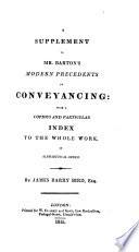 A Supplement to Mr. Barton's Modern Precedents in Conveyancing