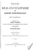 Paulys Real-encyclopädie der classischen Altertumswissenschaft