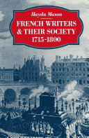 French Writers and their Society 1715–1800