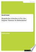 Biografisches Schreiben in Per Olov Enquists