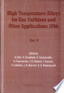 High Temperature Alloys for Gas Turbines and Other Applications, 1986