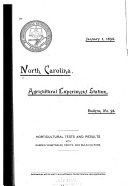 Bulletin   Agricultural Experiment Station  North Carolina State College