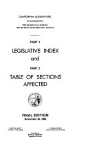 Legislative Index and Table of Sections Affected