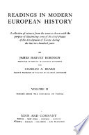 Readings in Modern European History  Europe since the Congress of Vienna
