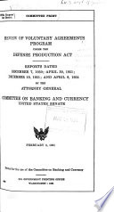 Review of Voluntary Agreements Program Under the Defense Production Act