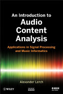 An Introduction To Audio Content Analysis Book PDF