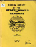 Annual Report Of The State Board Of Pardons To The Governor Of Montana