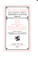 The Complete Works: Avatar. Jettatura. The water pavilion. A history of romanticism. Romanticist studies. The progress of French poetry since 1830
