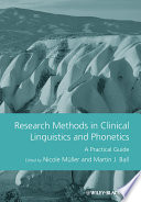 Research Methods In Clinical Linguistics And Phonetics Book PDF