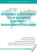Managing Sustaining Your Business Continuity Management Program Book PDF