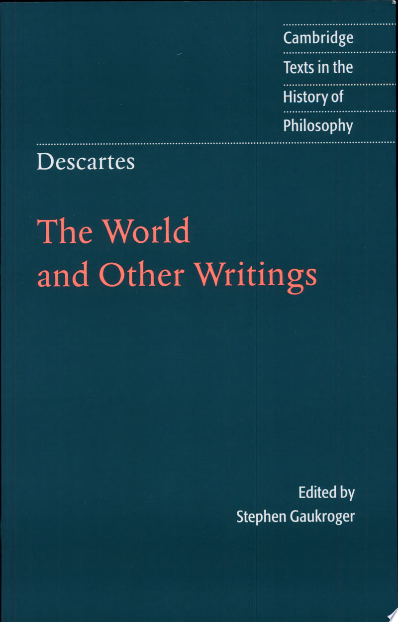 Descartes: The World and Other Writings banner backdrop