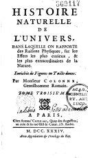 Histoire naturelle de l'Univers... par M. Colonne. [publiée par A. Gosmond]