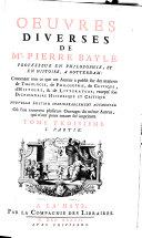 Oeuvres diverses de Mr. Pierre Bayle