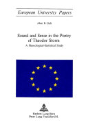 Sound and Sense in the Poetry of Theodor Storm