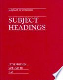 Library of Congress Subject Headings Book