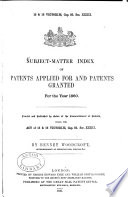 Subject matter Index of Patents Applied for and Patents Granted Book