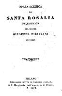 Pdf Opera Scenica di Santa Rosalia Palermitana [in four acts, and in prose and verse].