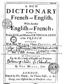 A new dictionary, french and english