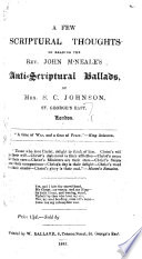 A Few Scriptural Thoughts On Reading John M Neale S Anti Scriptural Ballads