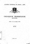 Colloquium Propertianum secundum: atti: Assisi, 9-11 novembre 1979