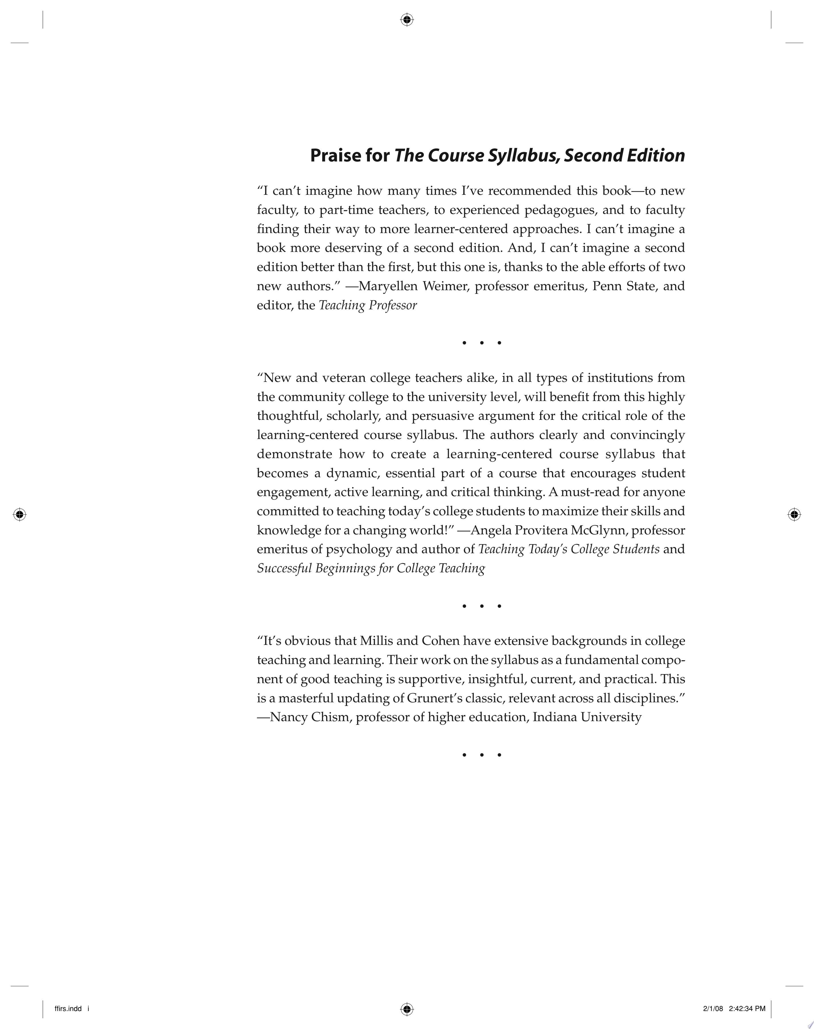 The Course Syllabus