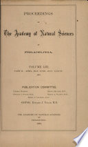 Proceedings Of The Academy Of Natural Sciences Vol Liii Part Ii Apr May June July Aug 1901