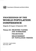 Selected Papers And Summaries Projections Measurement Of Population Trends E