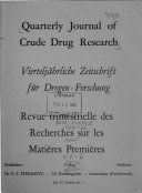 Quarterly Journal of Crude Drug Research