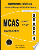 Mcas Subject Test Mathematics Grade 4 Student Practice Workbook Two Full Length Mcas Math Tests Paperback