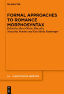 Pdf Formal Approaches to Romance Morphosyntax Telecharger