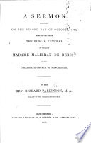 A Sermon  on Isaiah xxiv  8 11  preached     the day after the public funeral of     Madame Malibran de Beriot  etc Book
