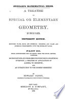 A Treatise on Special Or Elementary Geometry  An advanced course in geometry Book