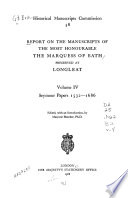 Calendar of the Manuscripts of the Marquis of Bath Preserved at Longleat, Wiltshire: Seymour papers, 1532-1686
