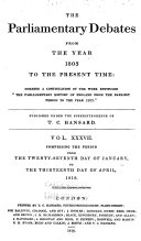 The Parliamentary Debates from the Year 1803 to the Present Time ebook