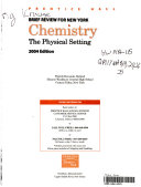 Prentice Hall brief review in Chemistry   the physical setting Book
