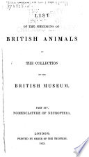 List Of The Specimens Of British Animals In The Collection Of The British Museum