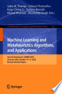 Machine Learning and Metaheuristics Algorithms  and Applications Book