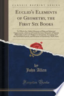 Euclid's Elements of Geometry, the First Six Books