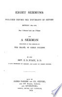 Eight Sermons Preached Before the University of Oxford Book