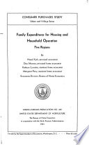 Family Expenditures for Housing and Household Operation