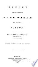 Report On Introducing Pure Water Into The City Of Boston